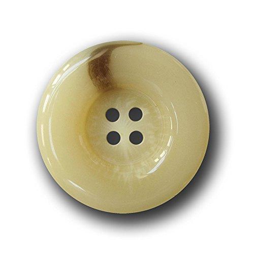 Knopfparadies - 5er Set sehr Elegante, große, melierte Vierloch Knöpfe in Blonder Horn Optik mit Wulst-Rand/für Jacken & Mäntel/Hellbeige, wollweiß & braun/Kunststoff/Ø ca. 25mm