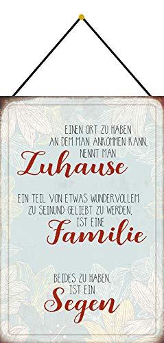 Generisch Cartel de Chapa, 20 x 30 cm, Curvado, con Cordel, para casa, Familia, bendición, Humor, Frase, decoración de Regalo