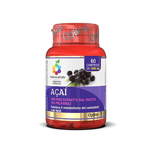 Colours of Life Acaì - Integratore di Acaì - Favorisce il Metabolismo di Carboidrati e Lipidi - Senza Glutine e Vegano, 60 Compresse