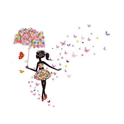 MoGist Wandaufkleber Schmetterlings Blumen Regenschirm Mädchen Muster Abnehmbare Wandtattoo Wandsticker für Wohnzimmer Schlafzimmer Kinderzimmer