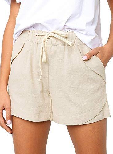 Shorts Damen Sommer Kurze Hosen Tunnelzug Elastische Stoffhose Solide Baumwolle Leinen Strand Shorts mit Taschen (262-Beige, Medium)