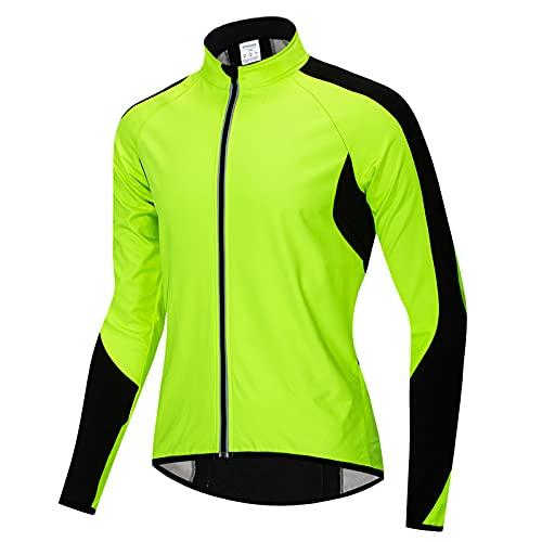 TDHLW Chaqueta de Ciclismo Impermeable Chaquetas de Invierno de Lana Térmica para Hombre Abrigo Reflectante MTB Transpirable a Prueba de Viento,Verde,M