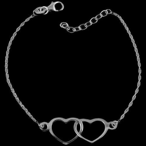 925 Sterling Silver Rope Chain Double Heart Love Bracelet Charm Women's Jewelry