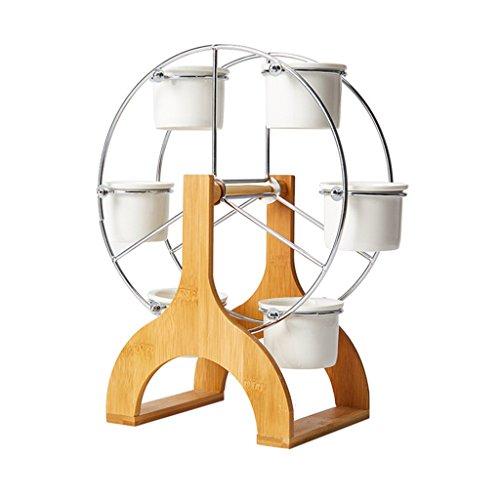 BOBE Shop Pots de Plantes succulentes Simples créatives, 5 Mini Pots en céramique + étagères de moulins à Vent, décoration de Bureau d'intérieur