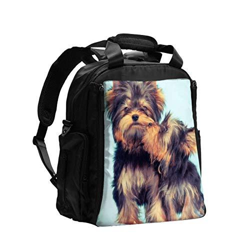 Una pareja de Yorkie perro de gran capacidad multifunción bolsa de pañales mamá papá bolsa de cuidado de bebé bolsa de pañales bolsa de lactancia