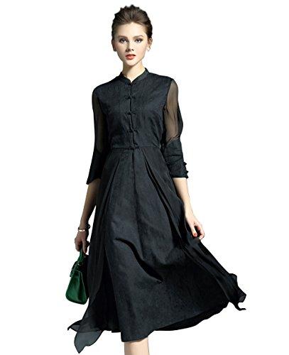 LAI MENG Damen Vintage 3/4 Ärmel Knopfleiste vorne Casual Rockabilly 2 in 1-Design Kleider Knielang in 3 Farben