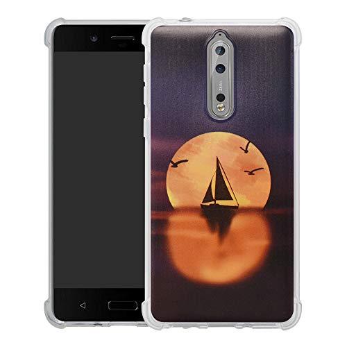 HHDY Nokia 8 2017 Cover,Brand Custodia Gel Morbida Disegni Bumper Ultra Leggera Sottile TPU Schema Case per Nokia 8 2017,Sailboats & Moon