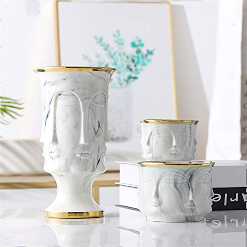 Xunsdzsw Flower vase Face Shape Designs Best Marble Ceramic Vase Flower Pot Gold Home Decoration Accessories Tools (Color : C Big Gold)