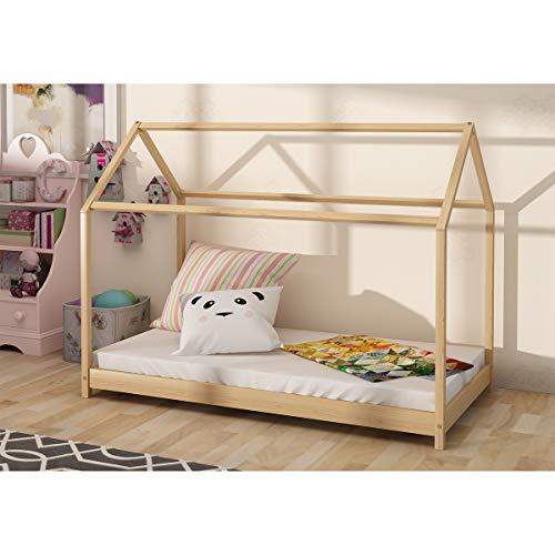 PanaCasa - Cama Infantil Forma de Casa o Cabaña Unisex para Colchón 80 * 160cm Estilo Escandinavo Incluye Somier