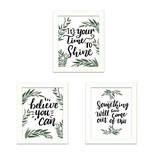 CUNYA 3 juegos de 20 x 25 cm hojas verdes plantas lienzo impresiones con marcos de fotos, Believe you can.' citas inspiradoras palabras DIY arte pared carteles modernos pegatinas decoración