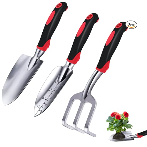 Garden Tool Set, 3 Piece Cast-Aluminum Heavy Duty Garden Tools Includes Hand Trowel, Transplant Trowel and Cultivator Hand Rake with Soft Rubberized Non-Slip Ergonomic Handle, gardening tools Gifts