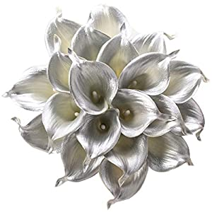 Leagel Calla Lily Bridal Wedding Bouquet Head Lataex Real Touch Flower Bouquets (20, Silver)