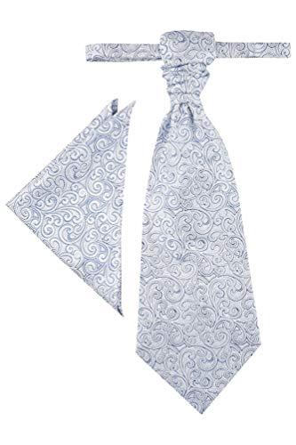 Wilvorst Plastron zur Hochzeitsweste, grau-blau, paisleyähnliche Musterung, Slimline