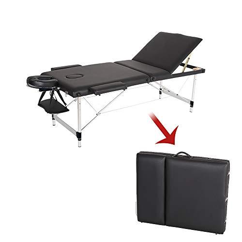 Table de Massage Réglable Pliante Portable Aluminium Cosmétique Thérapie Beauté (Noir)