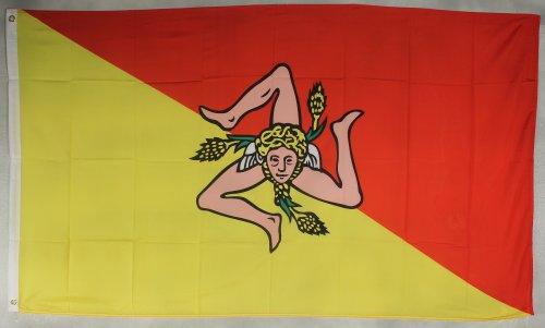 Buddel-Bini Flagge Fahne ca. 90x150 cm : Sizilien Italien Sizilienflagge