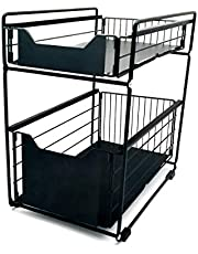 Mocosy 2-poziomowy przesuwny kosz szafki wyciągany organizer szuflada, stojak na przyprawy przesuwny kosz pod zlewem stojak do przechowywania do kuchni blat spiżarnia łazienka biuro biurko (czarny)