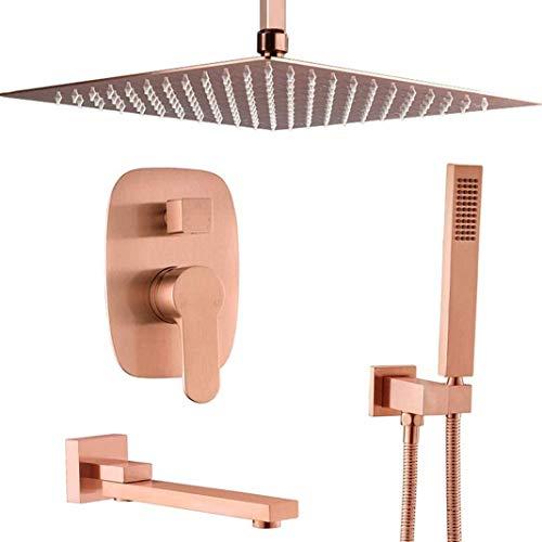 Sistema de ducha Baño de latón rosa Oro de rosa 10-12 pulgadas Techo Techo Techo Ducha Sistema de grifo Sistema de ducha Mano Conjunto de mezclador de ducha y bañera Grifos de ducha de lujo de 12 pulg