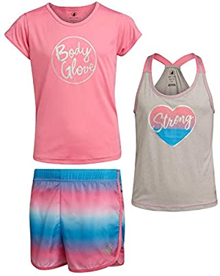 Body Glove Girls Active Short Set with Matching Tank Top and T-Shirt (3-Piece), Size 7, Peach Stripes
