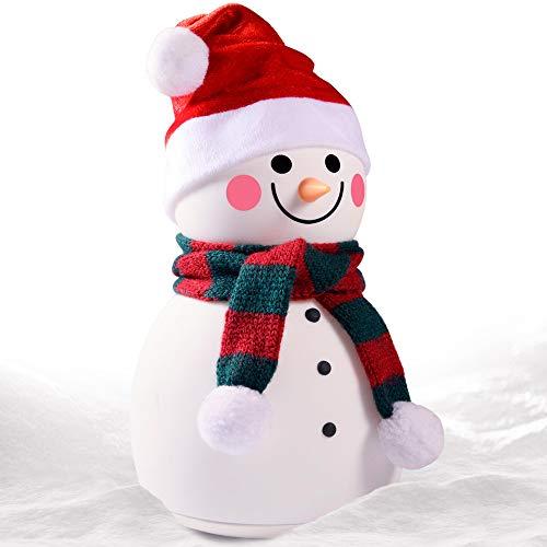 KOBEY Luz de la Noche, muñeco de Nieve Noche de la luz de 7 Colores Regalo portátil Recargable lámpara de Mesa Suave Silicona, descompresión Pat luz Ambiente Encantador lámpara de cabecera,Rojo