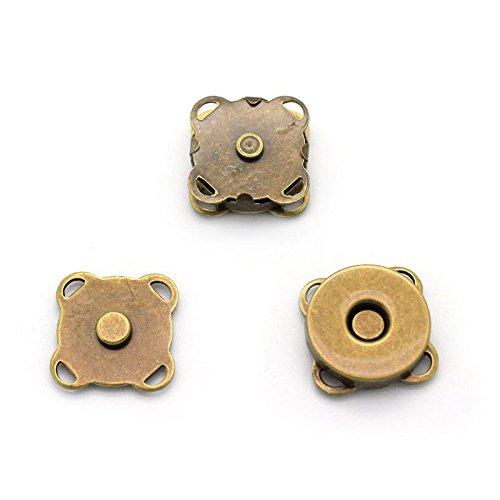 RUBY-10 Juegos Botónes Flor de Coser en Bolsa Cierre Magnético para Bolsos Costura,Manualida en Bolsita,Ropa,Bricolaje Dorado(15x15mm-B)