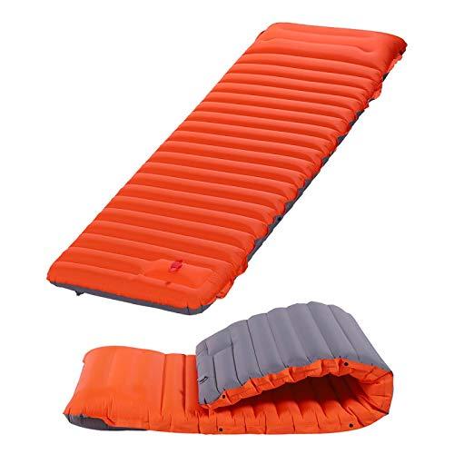 Wjfijz Colchón de Aire Ultraligero autoinflado Sleeping Pad empalmando Inflable Bed Beach Picnic Camping Tienda Orange-with-Gray