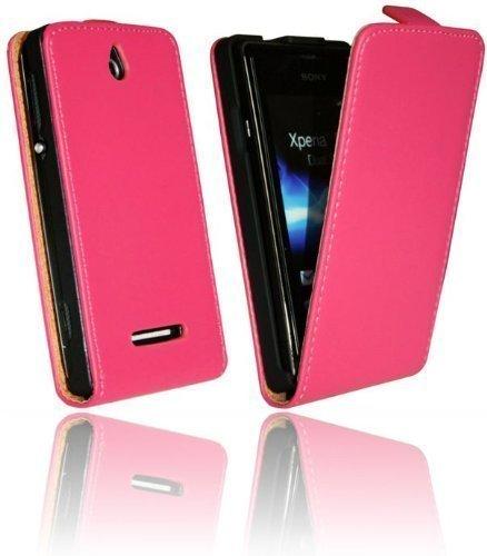 ENERGMiX Handytasche Flip Style kompatibel mit Sony Xperia E C1505 in Hot Pink Klapptasche Hülle