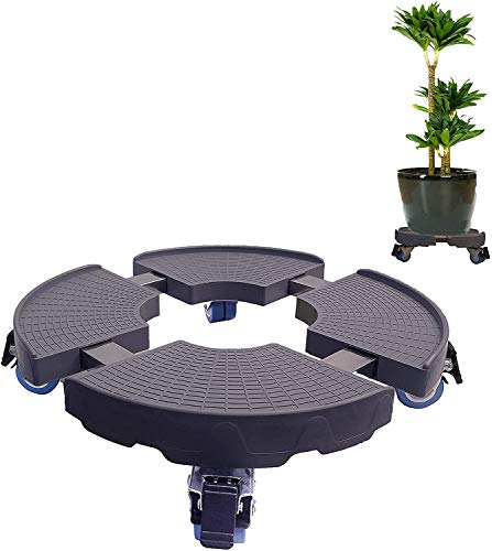 C CASIMR Heavy Duty Plant Stand with Wheels, 440lbs Capacity ,15-19 Inch Adjustable Indoor/Outdoor Caddy Round Flower Pot Rack on Rollers, Dolly Holder Trolley Casters Rolling Tray
