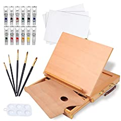 Acrylic Paints: 12 standard child friendly premium pigments conform to ASTM D-4236 Easel Box: built-in storage drawer with 3 compartments can organize your common tools Paint Brushes: blue wood handle and nylon hair are firmly connected with aluminum...