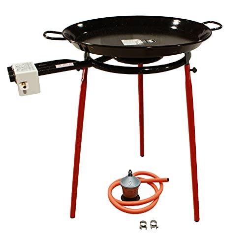 Kit Paellero 40 cm Gas butano, paellera esmaltada de 55 cm, regulador de Gas + 1,5 metros de Manguera, soporte de 3 Patas reforzadas (55)