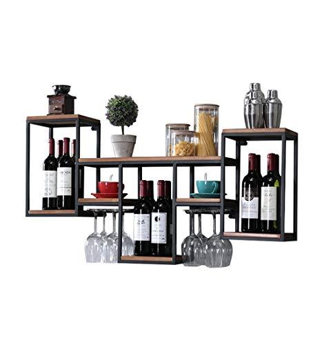 LDM Mensola Porta Vino Metallo Ferro per Bar |Porta Bicchiere da Vino in Legno |Stand del Vino |Porta Bicchiere |Cantinetta Vino a Parete |Mensola a cubo da Parete