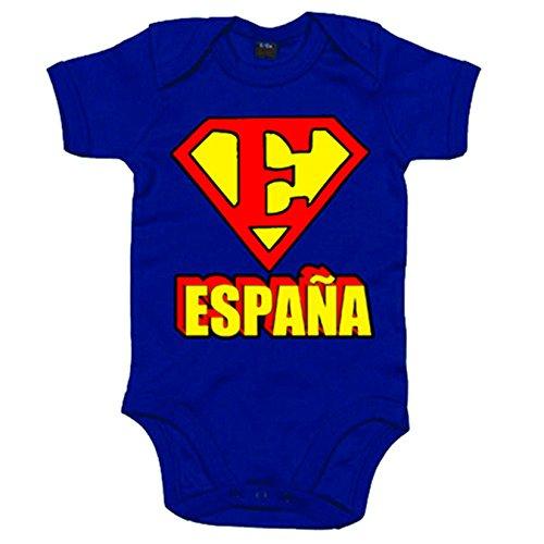 Body bebé España Superman logo - Azul Royal, 6-12 meses