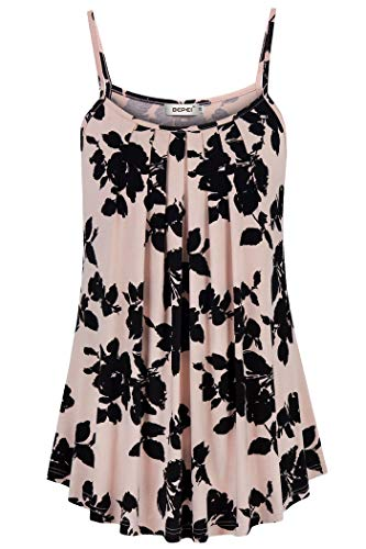 BEPEI Tank Tops for Women Plus Size,Flower Printed Decoration Cosy Cami Versatile Shirt Nursing Blouse Home House Clothes Black Pink 2XL