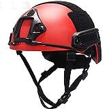 AQzxdc Casco táctico tipo MH/PJ/BJ, con riel lateral y montaje NVG, casco protector todo en uno rojo para paintball al aire libre, caza y equitación, MH