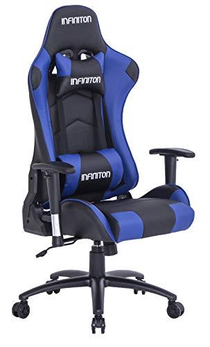 IN Silla Gaming INFINITON GSEAT (Silla con Reposacabeza Apoyo y Cojin Lumbar, Cuero Sintetico, Ideal para Jugadores) (Azul)