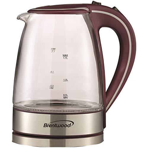 Brentwood Cordless Electric Kettle Glass, 1.7L, Purple