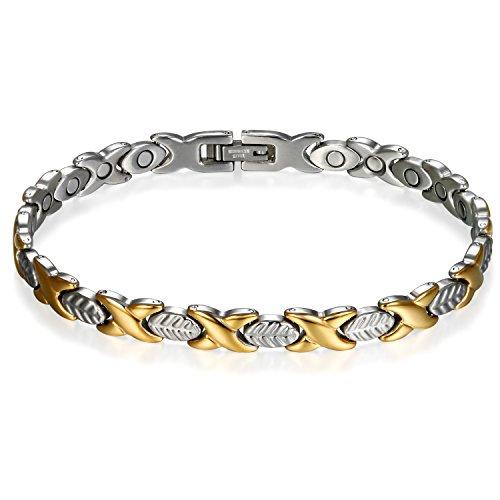 JewelryWe Schmuck Damen Magnetarmband + Link Removal Tool, Edelstahl Blatt Feder X Link Magnetisch Armreif Magnete Armband Armkette, Silber Gold