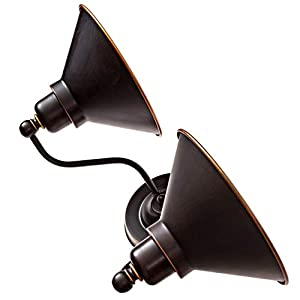 Dysmio - Two Lights Wall Sconce in Mission Dust Bronze and Metal Shade