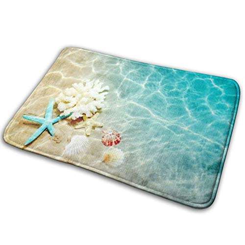 Bath Mat Starfish Coral and Seashell Bathroom Rug Polyester Front Door Mat Rugs Carpet for Inside Outdoor 15.7 X 23.5 in
