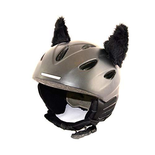 Helm-Hörnchen für den Skihelm, Snowboardhelm, Kinder-Helm, Kinder-Skihelm oder Motorradhelm - verwandelt den Helm in EIN EINZELSTÜCK - für Kinder und Erwachsene HELMDEKO (Fellhörnchen Schwarz)