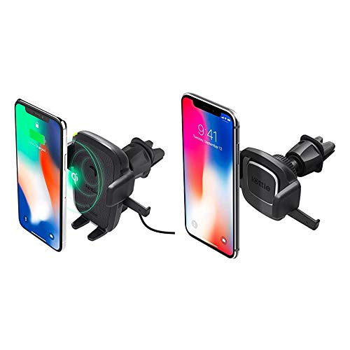 iOttie Easy One Touch Qi Wireless Charger Vent Mount & Easy One Touch 4 Air Vent Car Mount Phone Holder   for iPhone, Samsung, Moto, Huawei, Nokia, LG, Smartphones