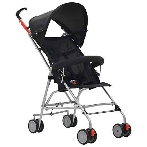 Festnight Klappbar Baby Kinderwagen Zwillingswagen Zwillingskinderwagen Buggy aus Stahl + Oxfordgewebe geeignet 6-36 Monate Kinder Max 15kg Schwarz