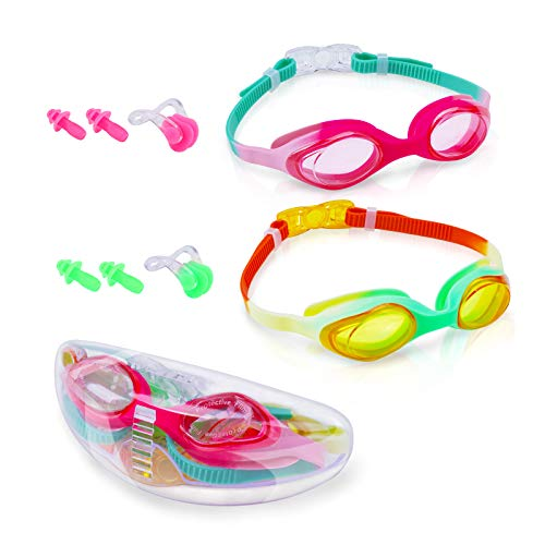 Swim goggles, 2 Packs of kids goggles with anti-fog goggles, Soft Silicone, eye protection for UV light. Wide view swimming goggles for 3D ergonomic design, no leak, suitable for child, teen (Age5-15)