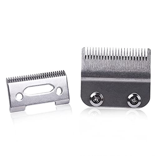 Professional Adjustable Clippers Blades, Carbon Steel Hair Trimmer Replacement Blade for Wahl 8148, Wahl Senior cordless Clipper, Wahl Magic clipper, Pack of 2 (Taper Silver)