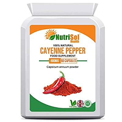 NutriSol Health Cayenne Pepper - Capsicum Annuum 800mg 30 Vegan Capsules | Thermogenic Agent | May help boost metabolism, support a healthy weight and help to boost weight loss efforts | May help reduce hunger | May help support a healthy heart and lower