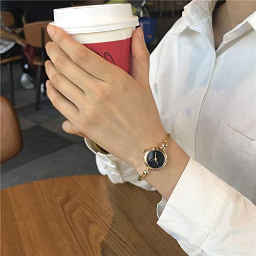 FDIJM Damenmode Armbanduhren Minimalistisch Stilvoll Armreif Frauen Uhr Einfach Gold Weiblich Uhr, Gold Schwarz