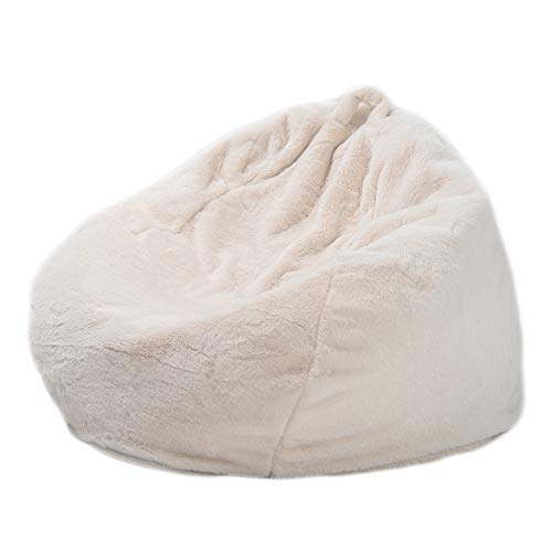 Lazy Sofas Cover, Handmade Rabbit Fur Warm Lounger Seat Bean Bag Cover Soft Beanbag Chair for Adult Teen Children, Without Filling,White,L