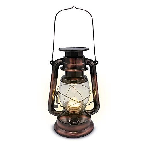 電光ホーム LED ソーラー ランタン アンティーク 2Way 充電式 高さ28cm 暖色 ソーラー充電 アダプター充電 明るい 無段階調光 キャンプ アウトドア 非常灯 防災ランプ おしゃれ レトロ LED ランプ ライト テーブルランプ テーブルライト 防災 吊り下げ 間接照明 インテリア