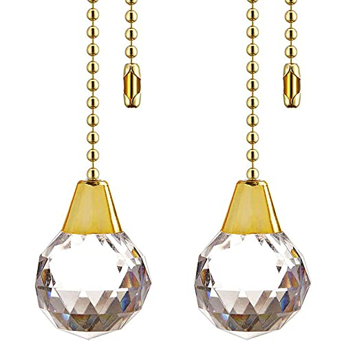 Ceiling Fan Pull Chain Chain Extender Extension for Ceiling Light Fan Chain 12 Inches Crystal Prism Ball Pendant Fan Pulls Set for Ceiling Light Lamp Fan Chain,2 Pack (Gold)