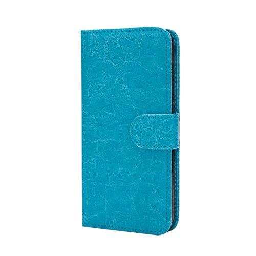 32nd PU Leder Mappen Hülle Flip Case Cover für Lenovo K6 Note, Ledertasche hüllen mit Magnetverschluss & Kartensteckplatz - HellBlau