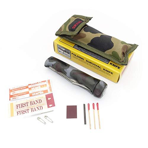 Survival Outdoor Messer Tarnfarben Klappmesser mit Säge, Kompass, Messertasche & Kit SM11
